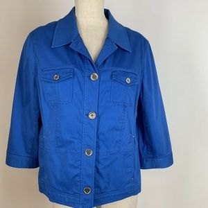 Jones New York Jacket Blue Cotton Stretch Size XL